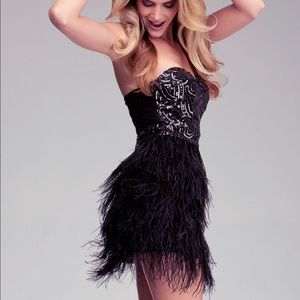 Bebé Black Feather Sequin Dress